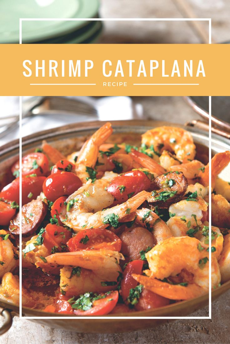 Garlic and heady spices mingle and infuse shrimp as they simmer with cherry tomatoes, white wine and a bit of heat. Although this dish is named for the hinged tin-lined copper pot that resembles a clam shell, you can use a deep 4-quart pot with a tight-fitting lid. http://recipes.oregonlive.com/recipes/shrimp-cataplana