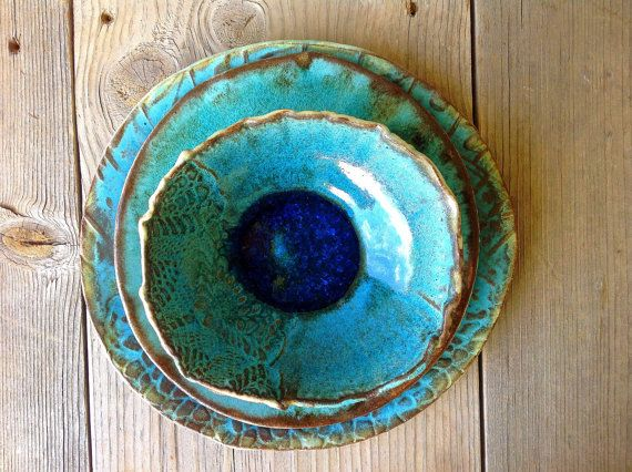 Registry For Chloe and Tim-Organic Shape Turquoise Green Tableware Ceramic Plates Wedding Gift Bowls, Dishes, Dinnerware-made to order