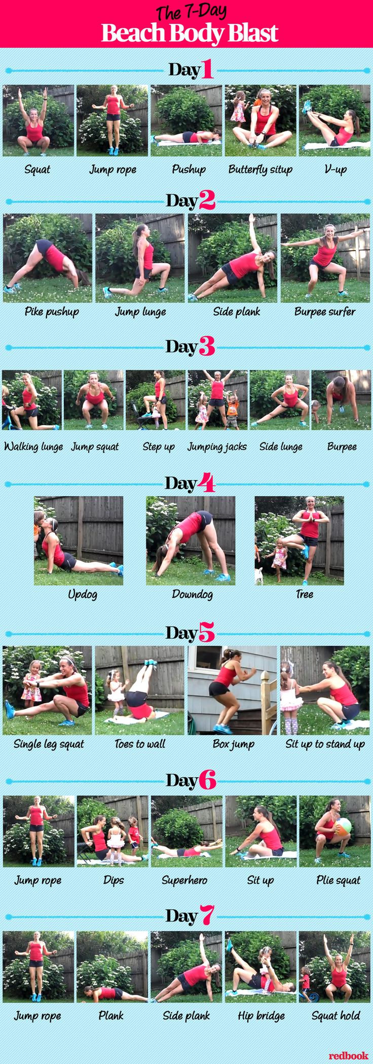 7-DAY BEACH BODY BLAST WORKOUT: Use this beach body challenge to get the strong and fit body you've always wanted! This fun workout routine actually works, thanks to intense, one-minute interval moves including: squats, jump rope, push-ups, jump rope, butterfly sit-ups, jump rope, and v-ups. Click through for the day-by-day full body workouts, easy-to-follow instructions, tutorials, and fitness tips from pros.