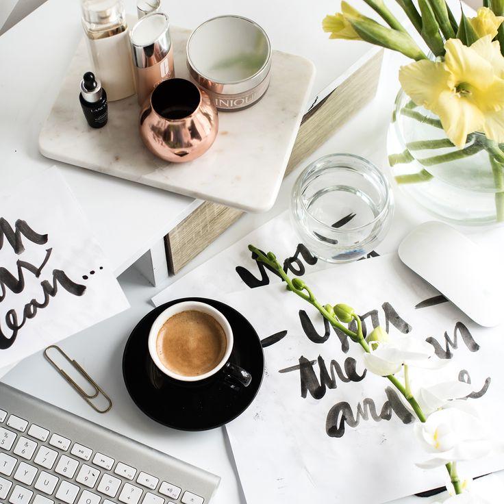 Lettering. Handettering. Typography. Handmade font. Postcards. Print design.  Flatlay. Graphic design. Grafisk formgivning. Desk. Home office. Beauty products. Flowers. Workspace.