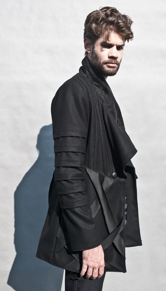 Black short coat with asymmetric stand-up collar