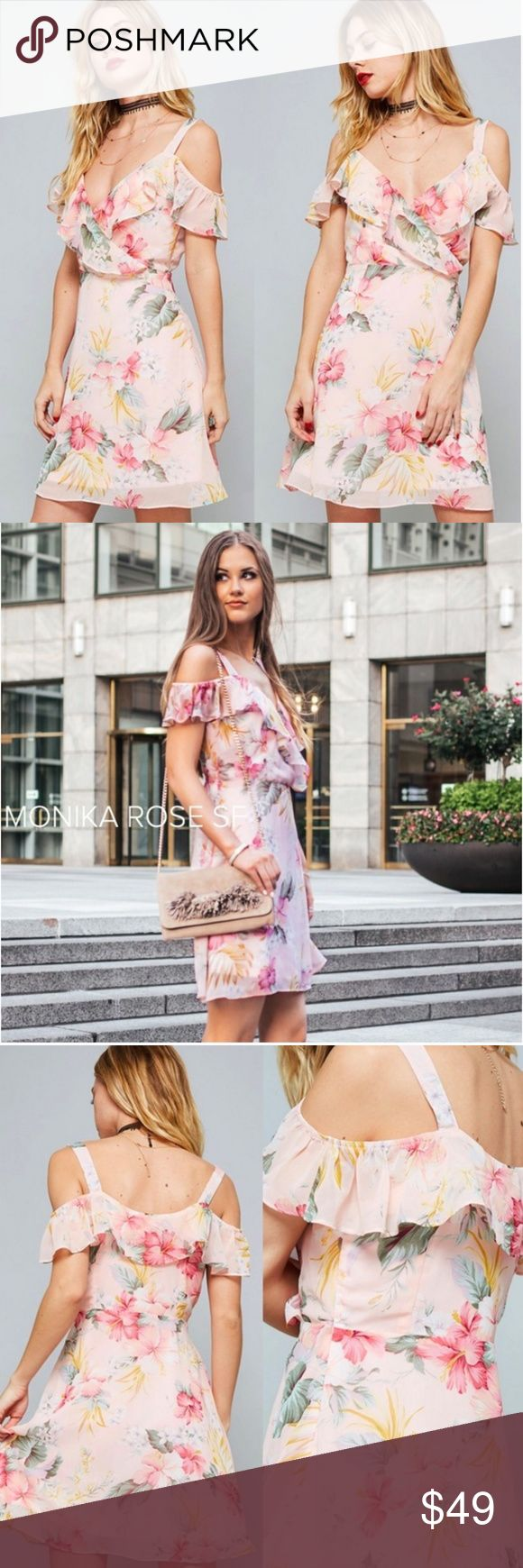 "Blush Pink Floral Wrap Dress RACHEL x Monika Rose SF Collaboration * All photo rights reserved   * Floral Print * Cold Shoulder Ruffle Detail * Front Wrap Style * Fully Lined * 100% Polyester   Model is wearing size Small and is 5'8"".    S: 38in B, 35in L M: 40in B, 35in L L: 42in B, 36in Monika Rose SF Dresses"