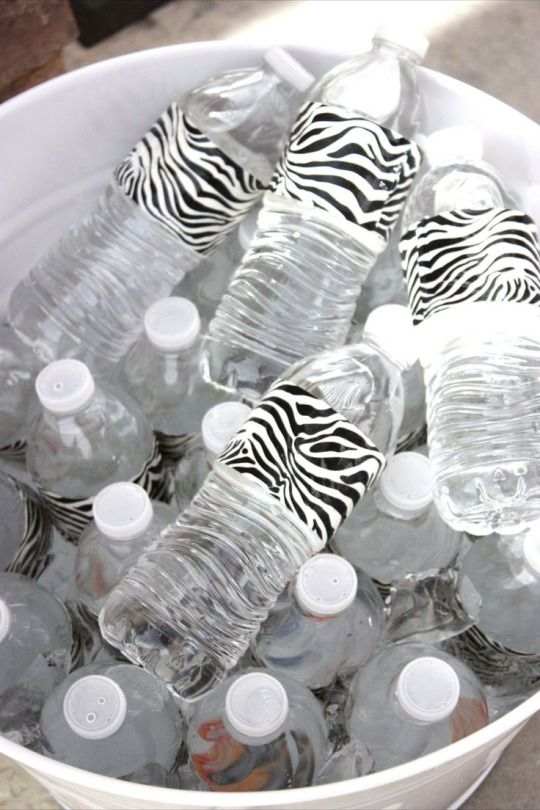 Duct tape dresses up party water bottles. They have so many cute patterned duct tape now this would be easy and super cute for a kids birthday party or baby shower. etc....