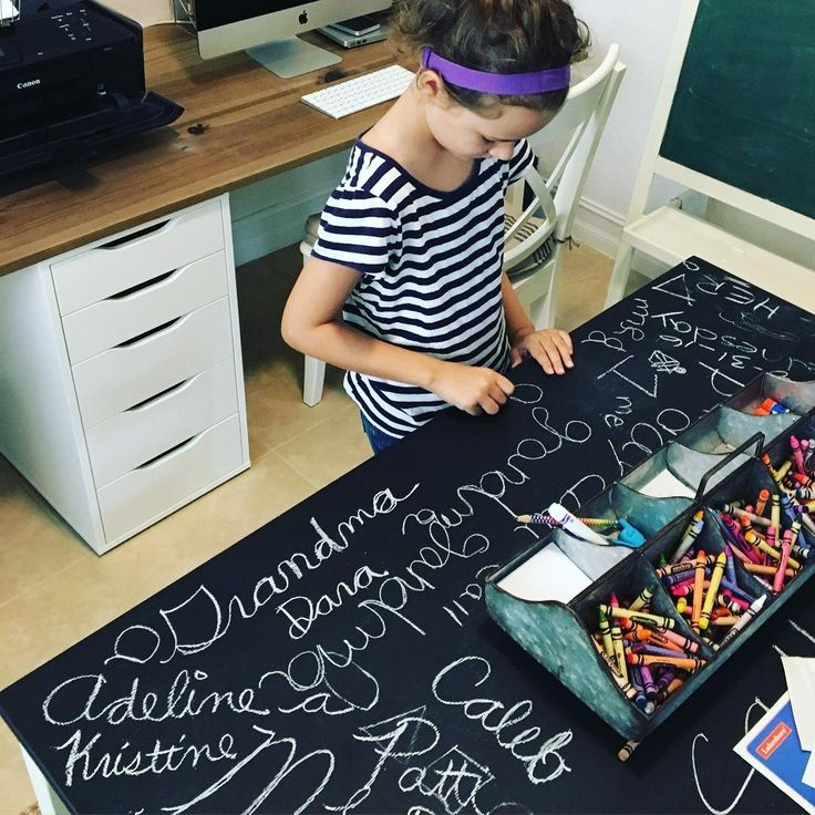 chalkboard desk for homeschool room
