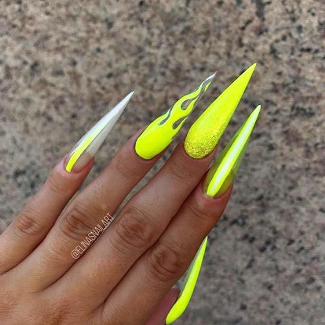 Unreal Neon Yellow Nails Best Stiletto Nails Designs Ideas Tips For You See More Ideas On Our Blog In 2020 Yellow Nails Design Neon Yellow Nails Yellow Nails