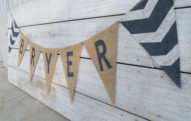 Chevron Burlap nom bannière / décor de pépinière by nhayesdesigns on Etsy
