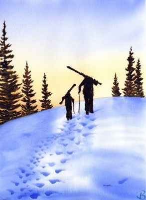 """Father and Son Hiking Into the Sunset by Artist Kendra Dixson    A father and son hiking with their skis at the end of the day.     Available in Prints and Art Cards:  8""""x10"""" Print  11""""x14"""" Print  16""""x20"""" Print     6 Pack Cards  20 Pack Cards  50 Pack Cards"""
