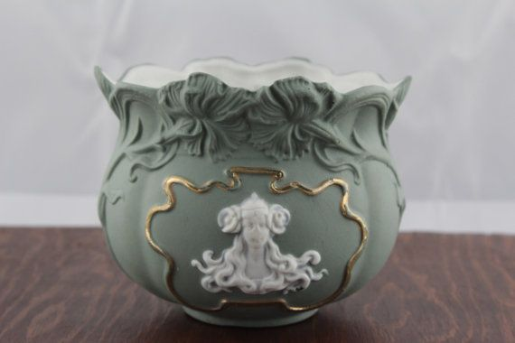 Art Nouveau Sage Green Jasperware Bowl  Antique by LoAndCoVintage
