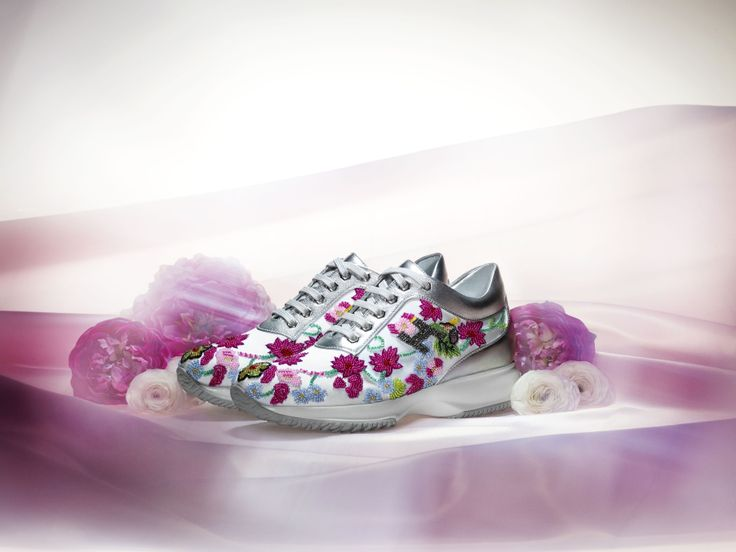 #HOGAN ATELIER Interactive SPRING FLOWER: a feminine #shoe in captivating colors, crystal and sequins.