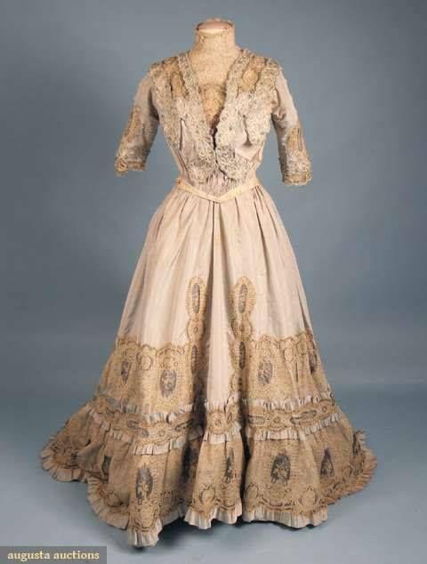 Pale Blue Belle Epoch Tea Gown, C. 1905.