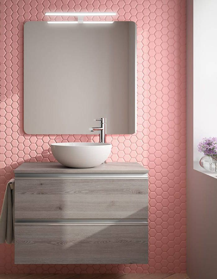 25 best ideas about pink bathroom tiles on pinterest for Revetement mural bois salle de bain