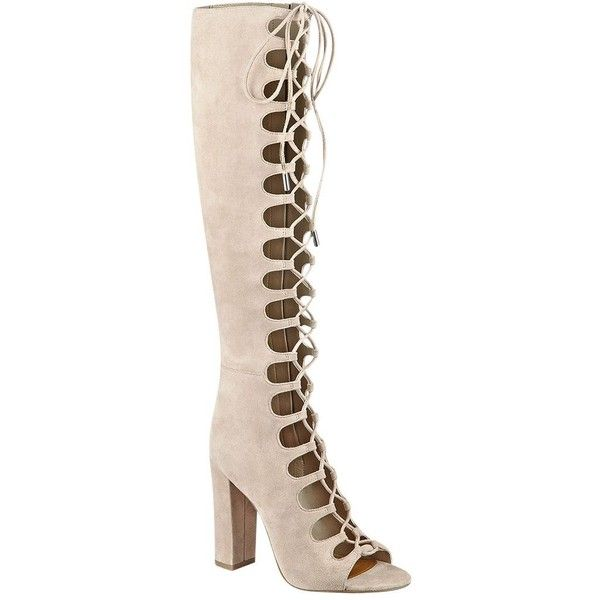 Kendall and Kylie Emma Tall Lace Up Gladiator Boots ($270) ❤ liked on Polyvore featuring shoes, boots, natural, lace front boots, tie boots, laced boots, high heel shoes and gladiator shoes