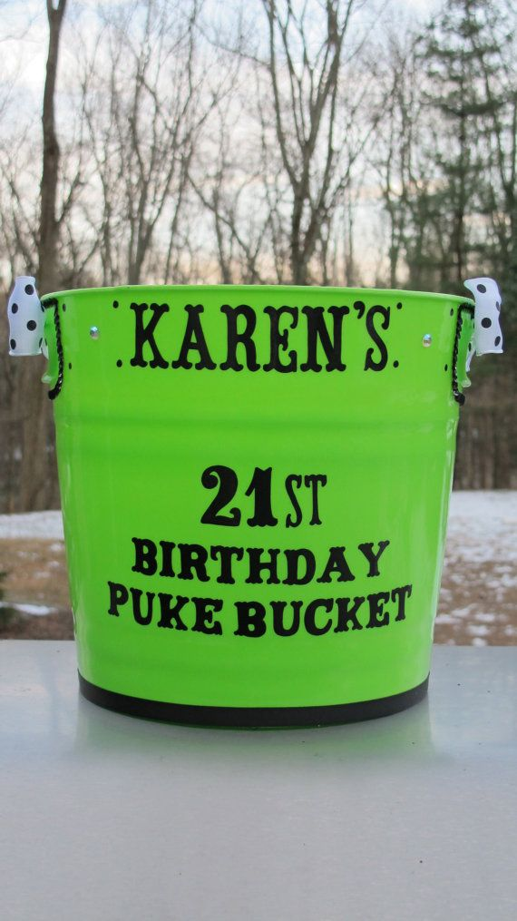 Personalized 21st Birthday Puke Bucket by JayniesCloset on Etsy, $35.00