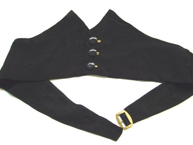 ANTIQUE VICTORIAN BLACK TWILLED SILK BUTTON DETAILED SUIT CUMMERBUND