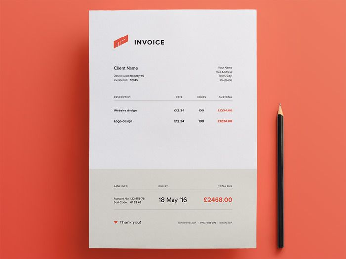 Superb 50 Creative Invoice Designs For Your Inspiration With Invoice Design Template