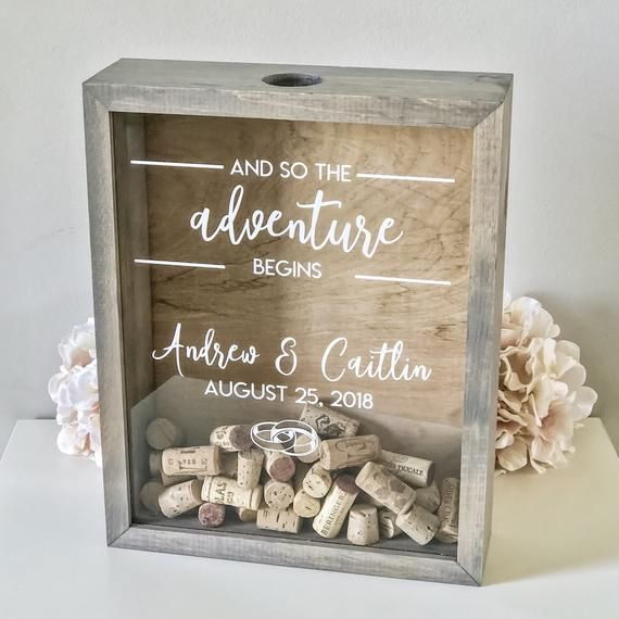 Cork Wedding Memory: Wood Guest Shadow Box