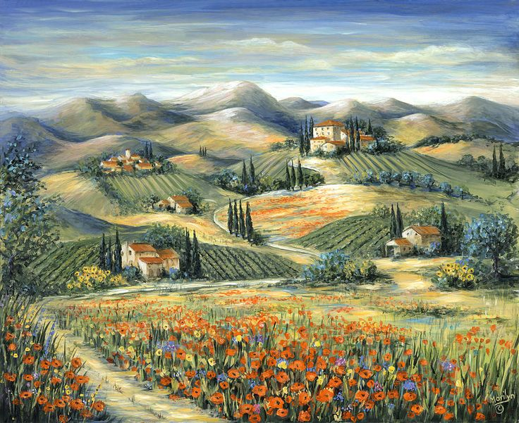 Tuscan Villa And Poppies ~ Marilyn Dunlap