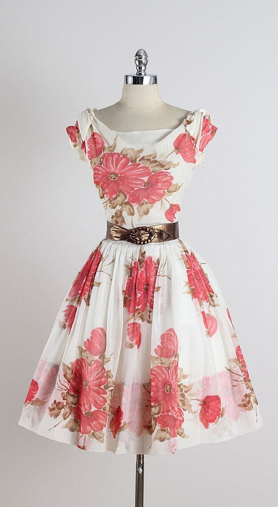 ➳ vintage 1950s dress  * white pink floral cotton * acetate lining * shoulder tie accents * detachable metallic gold belt (not original) *