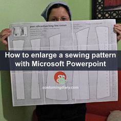 Step by step tutorial on how to enlarge any sewing pattern with Microsoft PowerPoint. Resize any image you find in a book, or the internet, in a few steps!