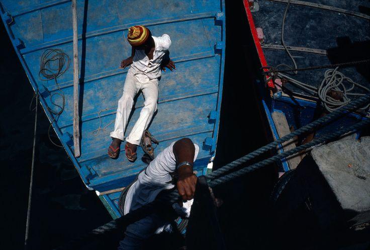 Alex Webb - KENYA. Lamu. 1984. Lamu town boats