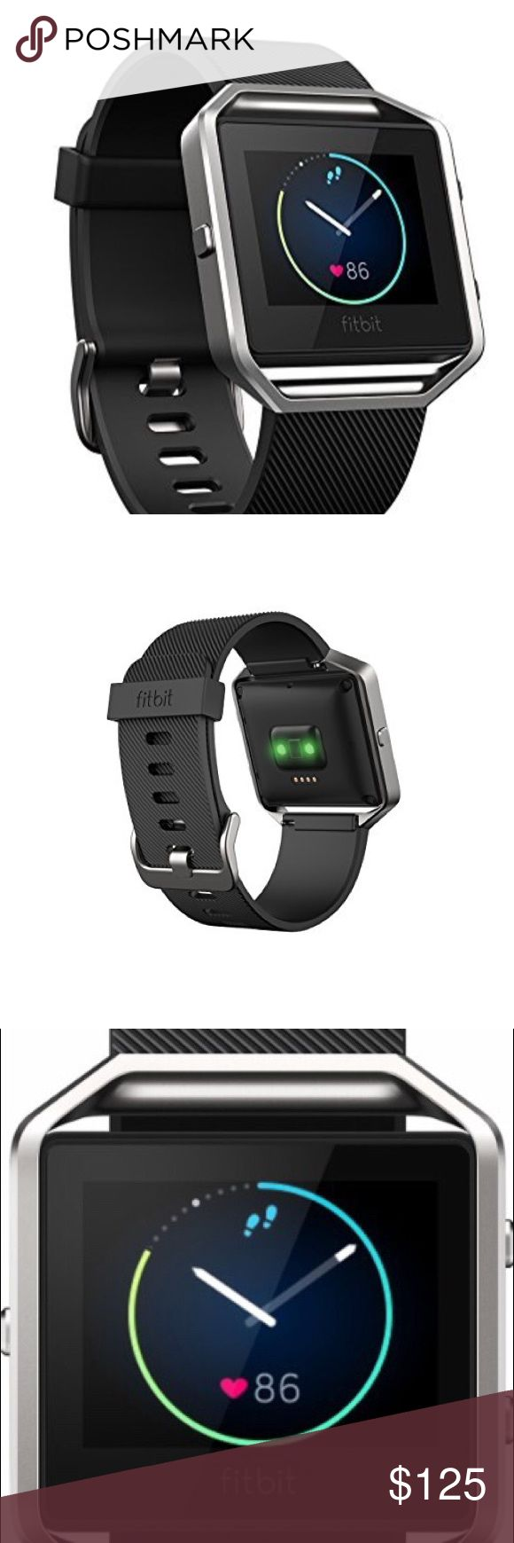 Fitbit Blaze Smart Fitness Watch, Black, Silver * Removable Stainless Steel Frame & Band (Black small) - with Charger * Color Touchscreen Display * Activity and Heart Rate Monitoring * Smart Notifications * Workout Coaching * Music Control * Sleep Tracking with Silent Alarms * Up to 5-Day Battery Life * Bluetooth Smart Wireless Connectivity * Windows, Mac, iOS, & Android Compatible Fitbit Accessories Watches