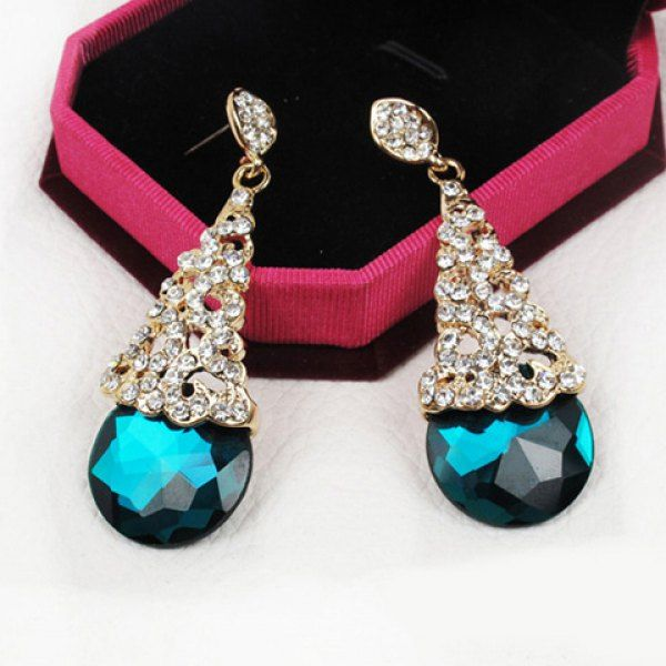 Pair of Gorgeous Diamante Colored Faux Crystal Earrings For Women #women, #men, #hats, #watches, #belts, #fashion