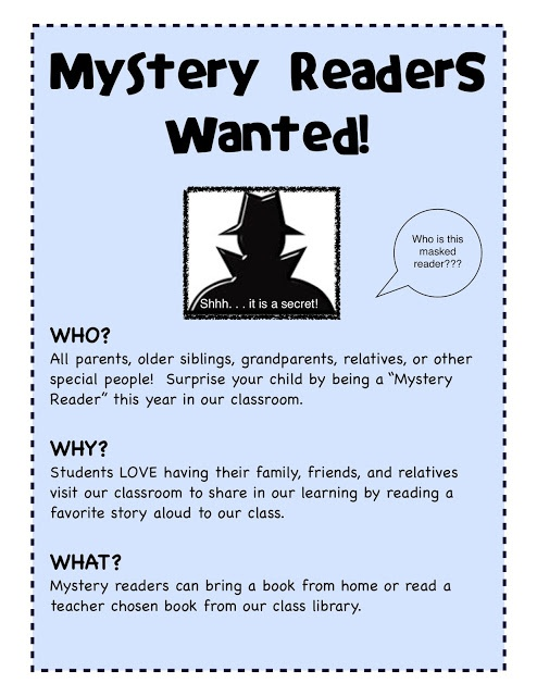 Mystery Readers! - A fabulous idea for involving family in the classroom and installing the love of reading and books.
