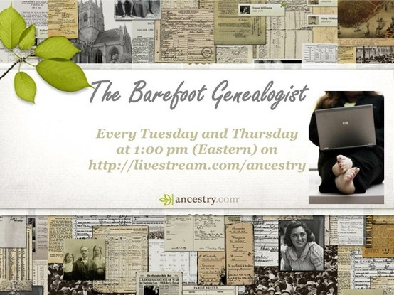 Want all the latest tips and tricks for doing #genealogy research, telling your ancestors' stories, and using Ancestry.com?  Join Crista Cowan, The Barefoot Genealogist, every Tuesday and Thursday at 1pm (Eastern)/10am (Pacific) at http://livestream.com/ancestry.