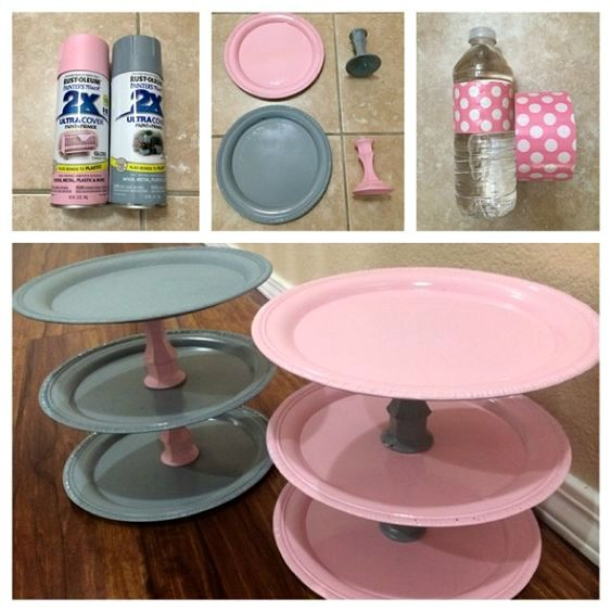 Supplies Needed: 3 Dollar store silver plates 2 Glass candle holders Pink & Gray spray paint Superglue These adorable cupcake stands were handmade by BernyRamos for her pink and gray themed baby shower! She went to the dollar store and found cheap plates and candle holders which worked great! She spray painted the plates first with …