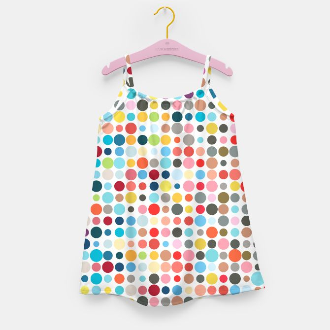 'Tangled Up In Colour' Girls Dress by Fimbis | Live Heroes . . dots, dot work, design, fashion, summer, rainbow, kids, colors, colourful, fashionista, girls,