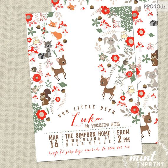 Woodlands Birthday Invitation by Mint Imprint - DIY Printable - Format: JPEG or PDF file. No actual printed material will be sent - Size: 5x7 or 4x6 - Design: One-Sided Invitation or Double-Sided (link below for matching ThankYou Tags etc) - Colour: as pictured, (4) layout options to choose from Choose MATCHING PARTY PRINTABLES here... http://etsy.me/1syTuTi Browse our SHOP here... http://etsy.me/1v8Edca Use this design for any occasion, such as engagement, bi...