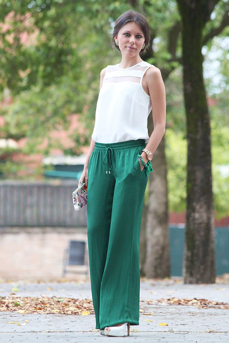 Kelly green silky palazzo pants with sleeveless white top with sheer panels / Dressy or work St. Patrick's Day Outfit / Spring or Summer outfit