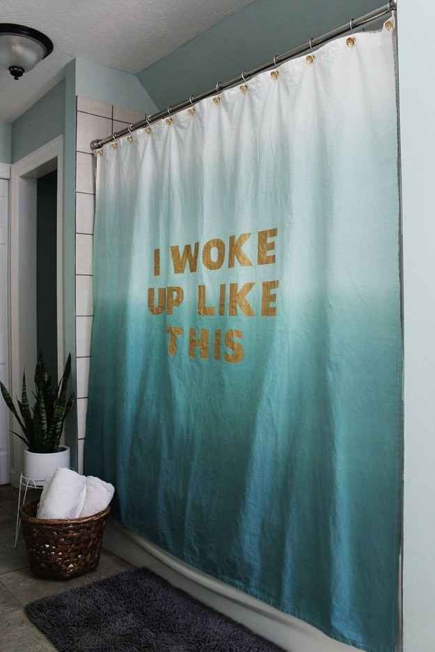 Belt your best Beyoncé impression behind a stenciled-lyric shower curtain.