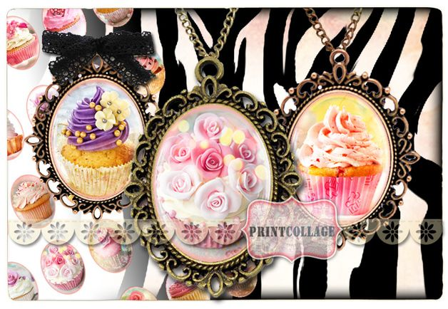 Digitale downloads - Digitale cabochon sjabloon beelden Cupcakes o34 - Een uniek product van PrintCollage op DaWanda