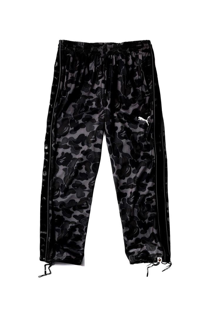 BAPE X Puma Black Camo Sport Trousers A Bathing Ape Camouflage Men's Training Pants in Black