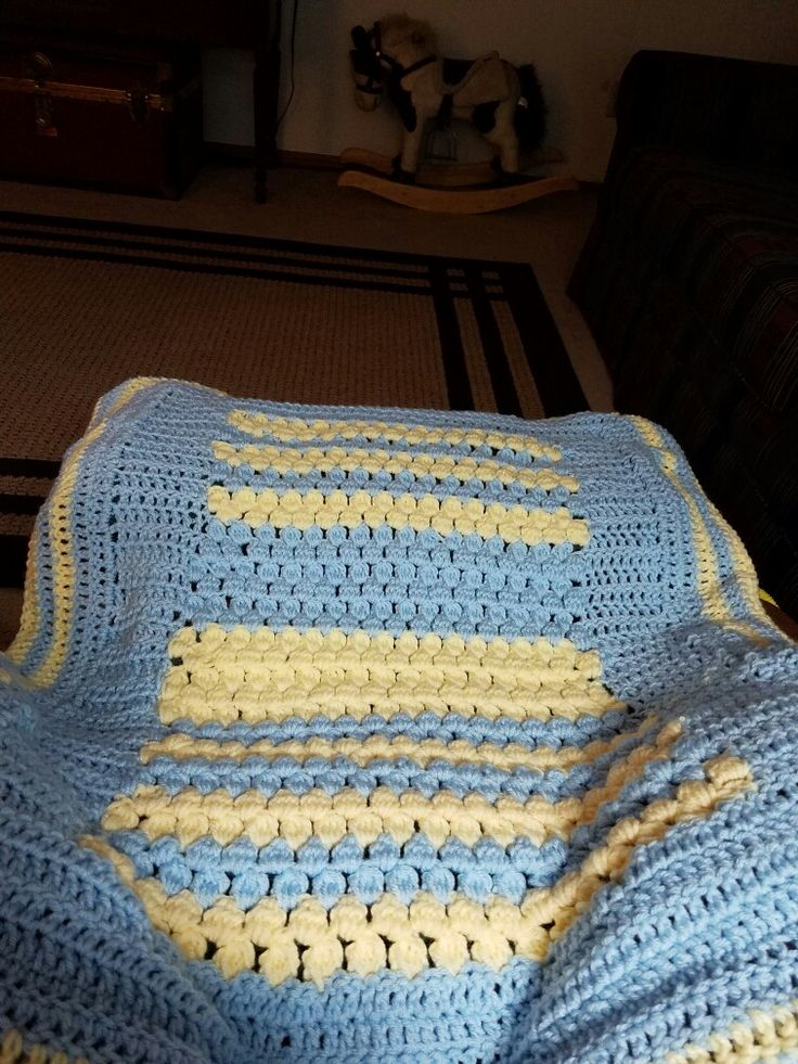 Baby Yellow and baby blue crochet, baby blanket for Brandon's new son.