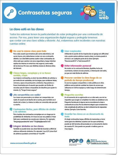 """Con motivo de la celebración del Día Mundial de Internet, día 17 de mayo, se pueden tener en cuenta los consejos de esta buena infografía, """"Contraseñas seguras"""", publicada por las autoridades argentinas."""