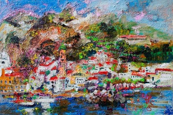 Amalfi Impression Italy Travel Oil Painting Textured Canvas - The Art of Ginette Callaway #OilPaintingItaly