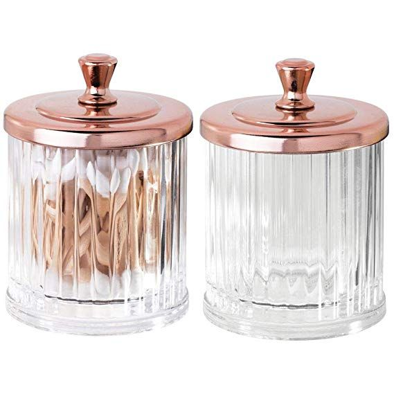 2 Pack mDesign Fluted Vanity Storage Apothecary Canister Jar
