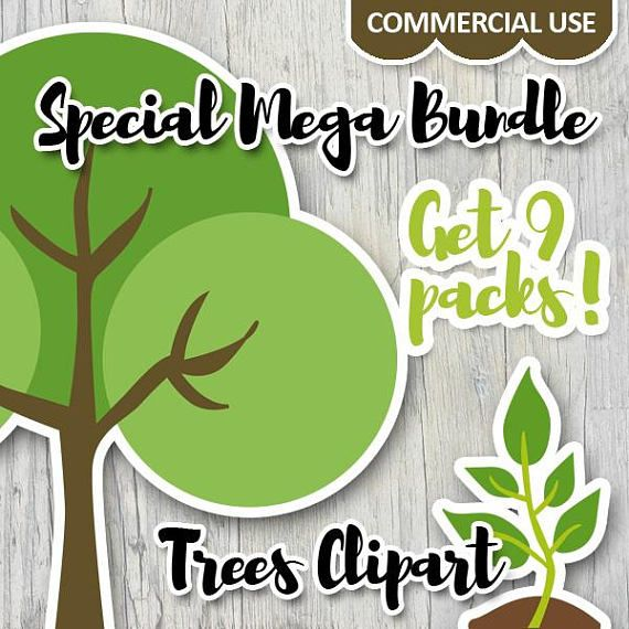 Commerical use clip art sale bundle / Go green trees clipart