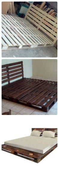 Veja só como é simples fazer um cama de palete rústica e prática! E só precisa de 6 paletes de madeira!