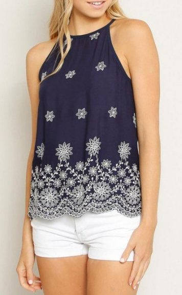 High Neck Embroidered Tank Top