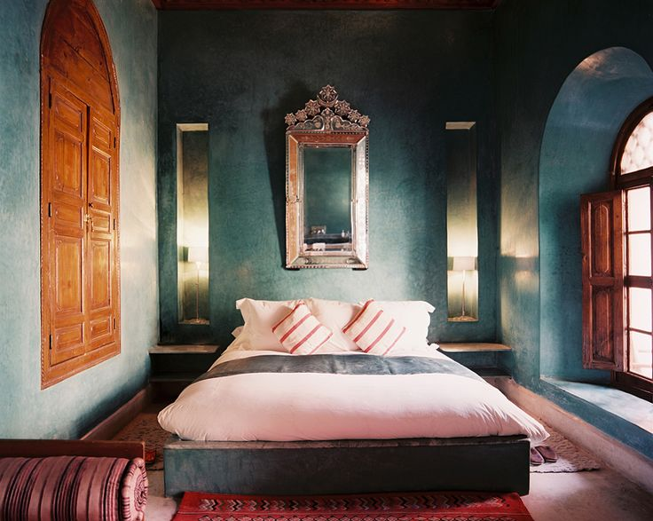 Lonny Magazine August 2012 | Photography by Patrick Cline; Interior Design by Riad El FinnWall Colors, Bedrooms Design, Moroccan Bedrooms, Lonny Magazines, Interiors Design, Blue Bedrooms, Riad El, Dark Teal, Bedrooms Wall