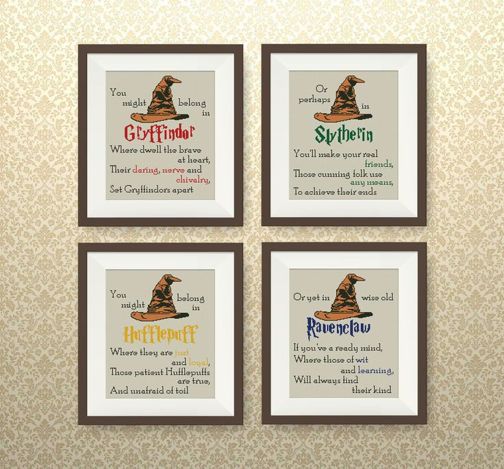 SET, Sorting Hat's Song cross stitch pattern, Harry Potter cross stitch, Gryffindor, Slytherin, Hufflepuff, Ravenclaw cross stitch, P261 by NataliNeedlework on Etsy