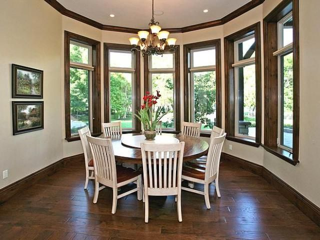 find this pin and more on rooms with wood stained trim table and chairs - Dining Room Paint Colors Dark Wood Trim