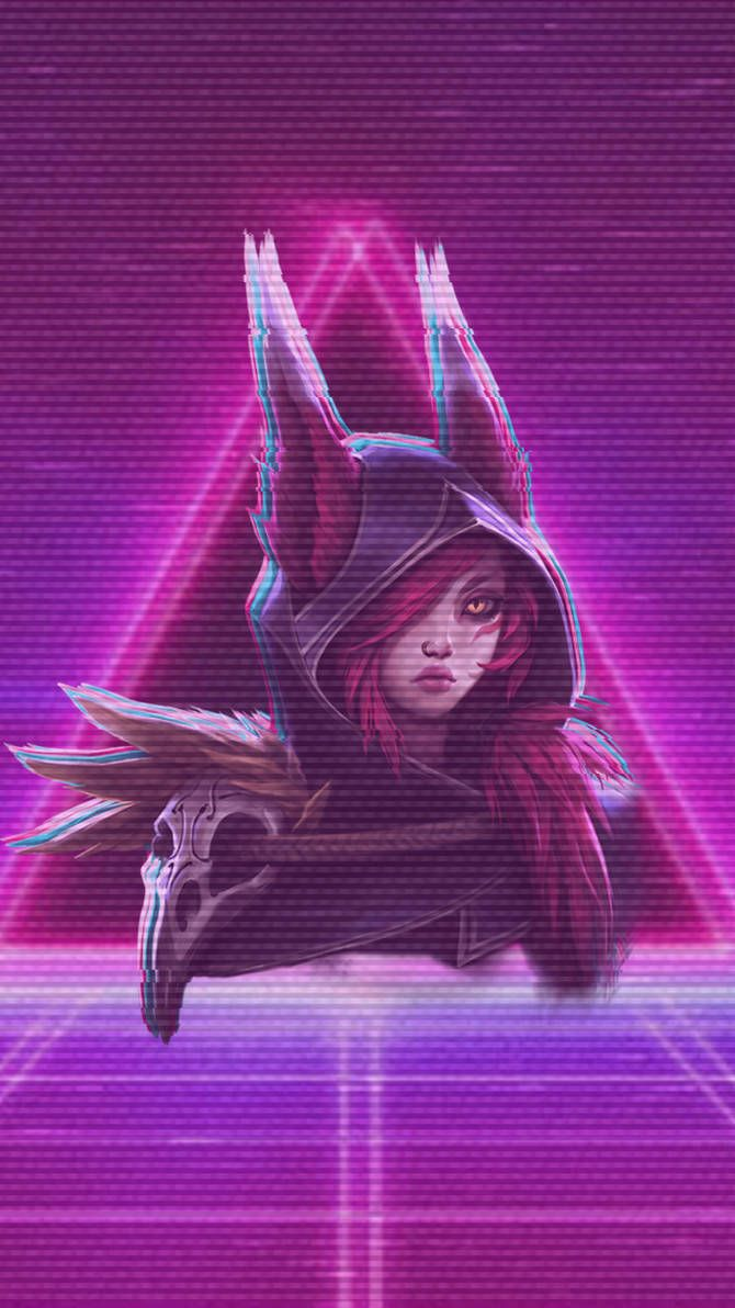 Xayah Vaporwave Iphone Wallpaper By Minty Paws Lol League Of