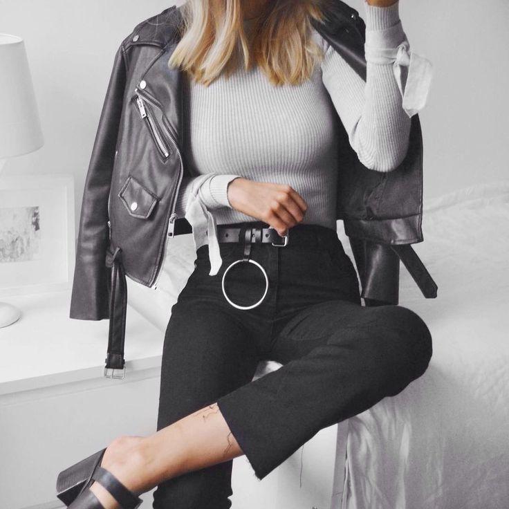 Missguided #ootd. Leather jacket & kick flares (@olivia_wh)