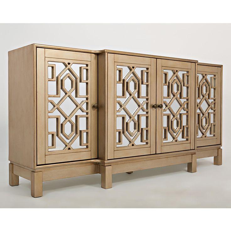 "Jofran 1555-70 Casa Bella 70"" Mirrored Console TV Stand Champagne Gold"