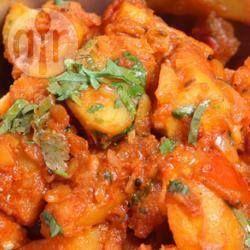 In curry gebakken aardappels