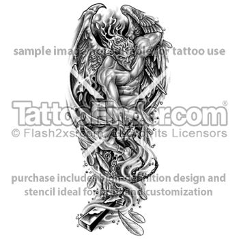 TattooFinder.com: Fallen Angel tattoo designs by Edward Lee, demon, sacrilegious, devil, bondage, chains, chained, shackles, man, male, for men